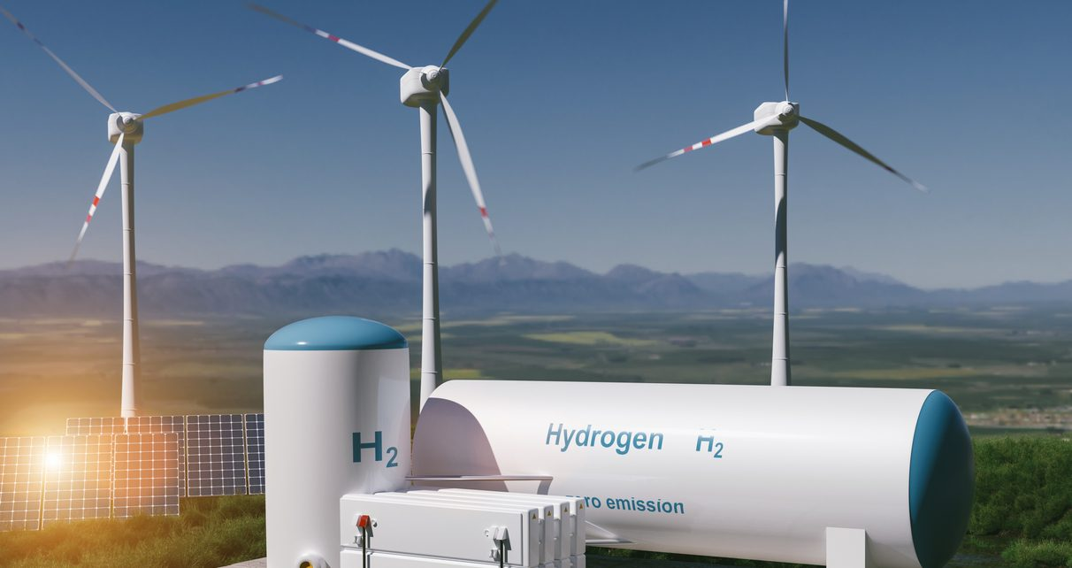 Hydrogen renewable energy production – hydrogen gas for clean electricity solar and windturbine facility.